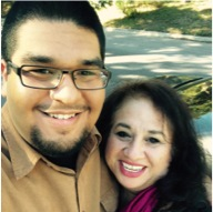 Mr. John Sebastian Gutierrez smiles with his mother, Ms. Patty Sanchez