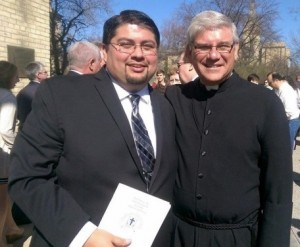 Mr. Gilbert Martinez, left, with Bro. Paul Bednarczyk, CSC